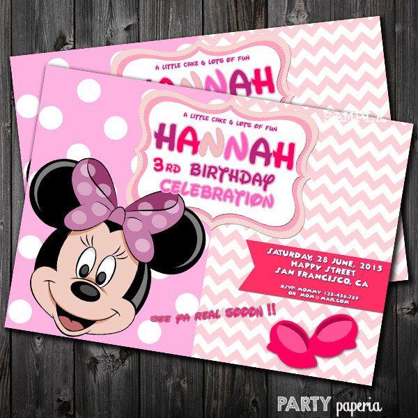 A personal favorite from my Etsy shop https://www.etsy.com/listing/225788512/minnie-invitation-minnie-card-minnie