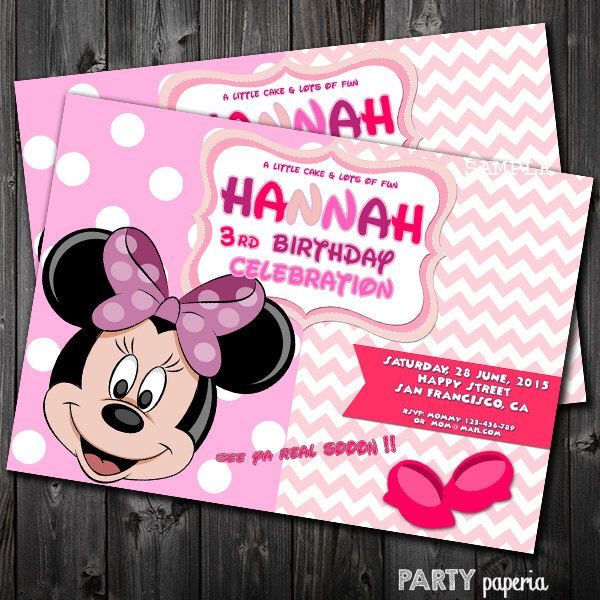 A personal favorite from my Etsy shop https://www.etsy.com/listing/225788512/minnie-invitation-minnie-card-minnie