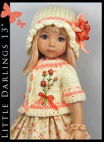 """* Orange Roses & Cream * Outfit for Little Darlings Effner 13"""" by Maggie & Kate"""