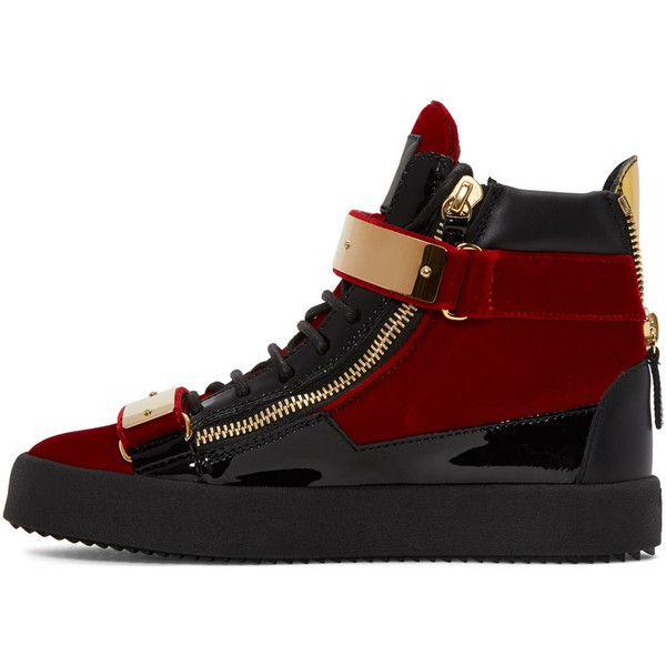 Giuseppe Zanotti Red Velvet London High-Top Sneakers ($500) ❤ liked on Polyvore featuring men's fashion, men's shoes, men's sneakers, giuseppe zanotti mens shoes, mens velcro closure shoes, mens velcro strap shoes, mens red high top sneakers and mens rubber sole shoes