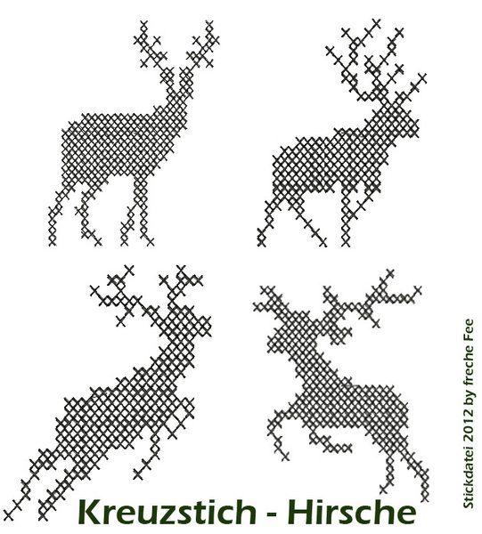 Stickapplikationen - Stickdatei * Kreuzstich-Hirsche *  Stickmaschine - ein Designerstück von frecheFee bei DaWanda