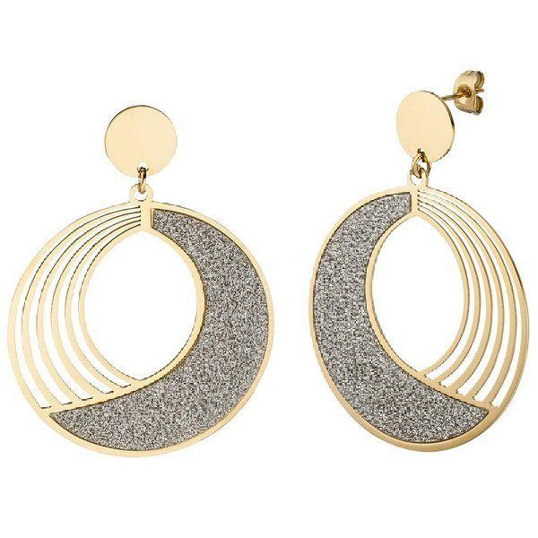 JOBO Ohrhänger rund aus Edelstahl gold farben beschichtet mit Glitzer-Effekt Ohrringe