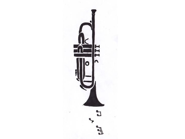 trumpet_and_music_notes_tattoo