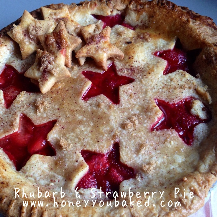 Rhubarb and Strawberry Pie - sweet & tart and total comfort food! How cute is the pink filling peeking through? #sweet #dessert #food