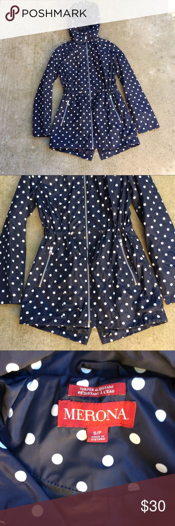 """Merona polka dot rain jacket Women's merona rain jacket   Lightweight   Size small   Blue and white   Polka dot pattern   Hooded   Water resistant   back vent flap   Approx measurements laying flat:  Pit to pit 17""""  Pit to bottom hem 19""""   Excellent condition Merona Jackets & Coats"""