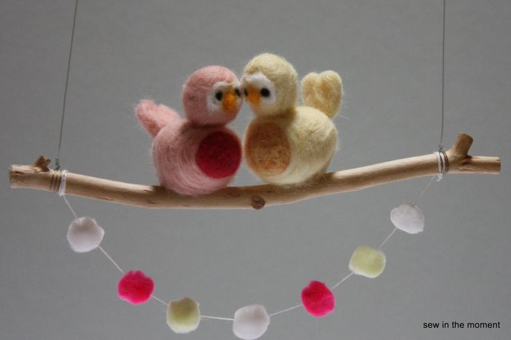 Needle Felted Love Birds in pastels on a Swing by sewinthemoment, $18.00