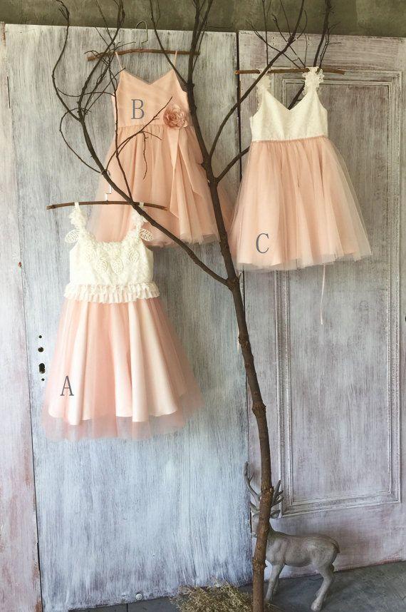 2015 Mix Match White Blush Pink Junior Bridesmaid dress, Mismatch Puffy Flower Girl dress, Mesh Lace Rosette dress (HK119/FK309/FK311)-RENZ