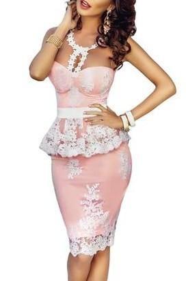Robe Peplum Rose Dentelle Fleur Crochet Illusion Nude Pas Cher www.modebuy.com @Modebuy #Modebuy #Rose #sexy #me #gros