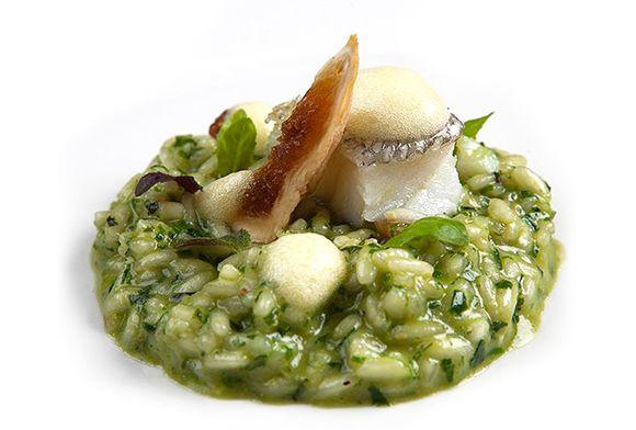 Gennaro Esposito | Risotto con fichi secchi del Cilento, pesto al basilico e baccalà confit