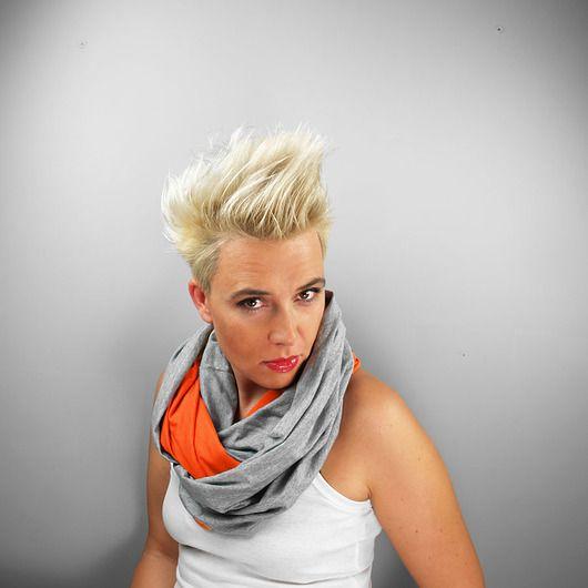 KOMIN TUBA dwukolorowa pomaranczowa szara #komin #tuba #orange #infinityscarf #scarf #circlescarf