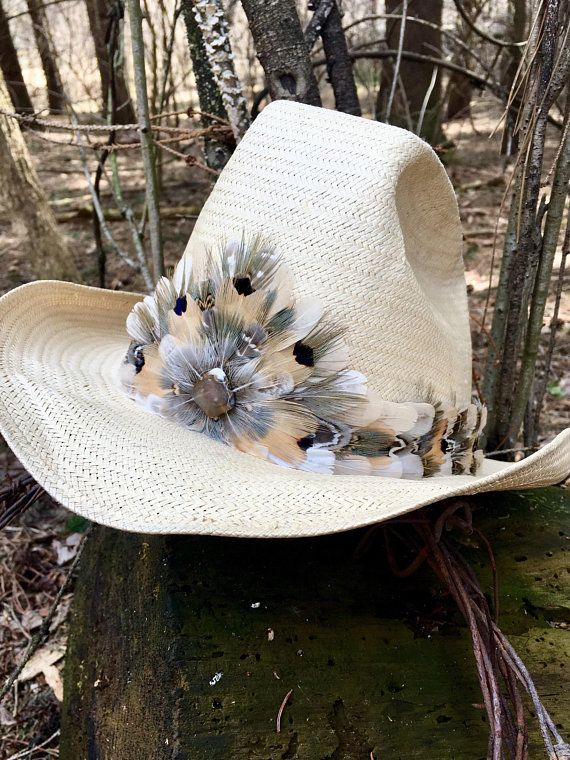 Feather Hat Band On Leather Light Gray Cream And Green Pheasant Feathers W Brazilian Agate Feather Hat Hat Band Hats