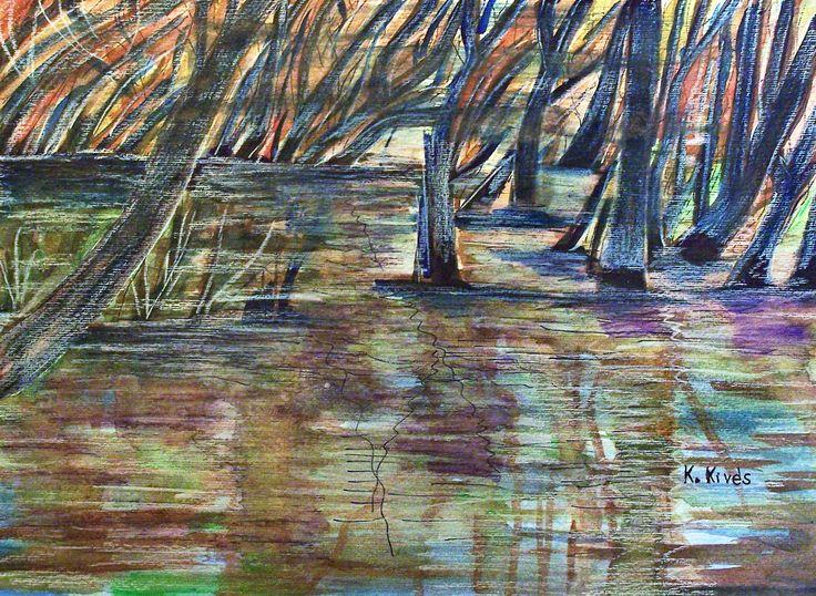 Vízben álló fák.  Vegyes technika, karton, tustoll, kevés akvarell30x45,5cm.