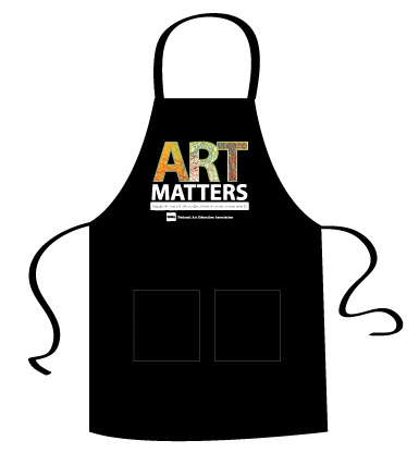 """Art Matters Apron. Support visual arts education in your community. Share this message in your classroom, studio, and beyond when you wear this full-length (22""""w x 30""""h) adjustable apron with two front pockets. 100% cotton with Teflon finish for added stain protection. Machine washable. Color: Black. Price: $15 (members)/18 (nonmembers)"""