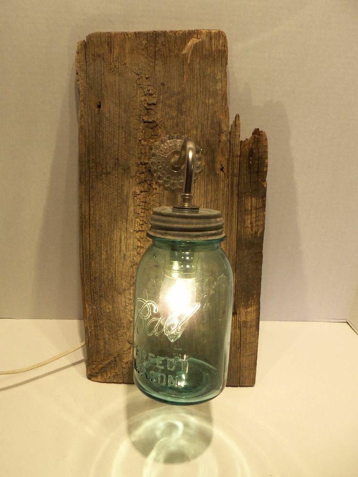 Original Barn Wood 1/2 Gallon BLUE Mason Jar Single Decor Fixture Plug In  Light - Best 25+ Plug In Vanity Lights Ideas Only On Pinterest Plug In