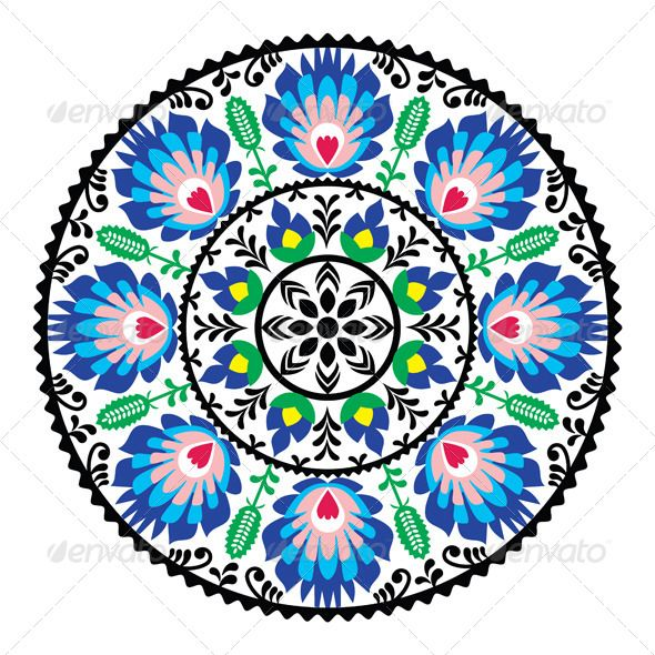 Polish Traditional Folk Pattern in Circle  #GraphicRiver