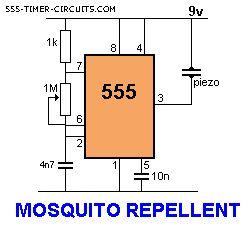 Este circuito gera um sinal acima do que é audível por humanos e isto é necessário para gerar um som repelente. Os repelentes sonoros são os menos danosos ..