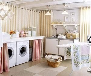 basement laundry room - seal floor, paint walls & ceiling white, use curtains to hide ugly unfinished walls. basements are just a fairy tale here in Florida, but I adore this regardless. by lenora