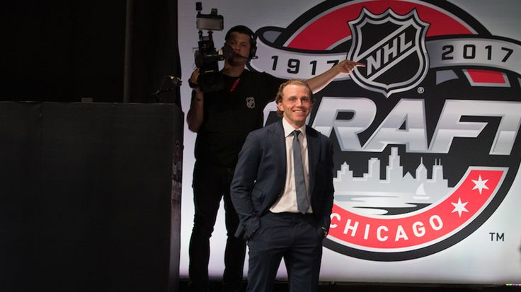 Patrick Kane prepares to go on stage to make the Blackhawks first pick.