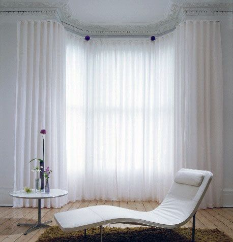 12 best images about bay windows on pinterest track bay for Painting sheer curtains