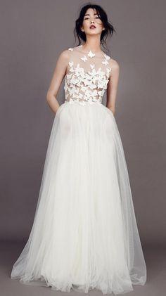 Hochzeitskleider 2015: Transparentes Tüllkleid mit Schmetterlingen von Kaviar Gauche