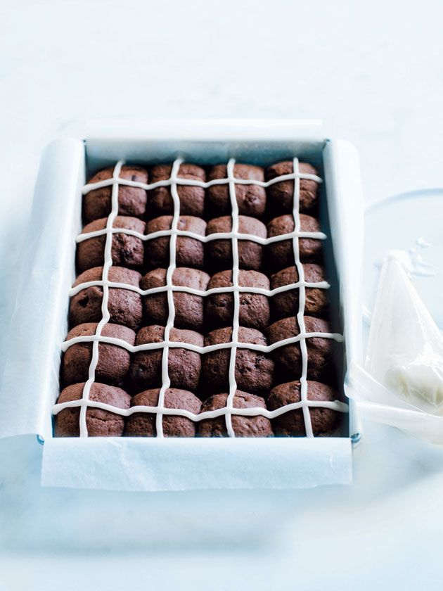 chocolate hot cross cookies from donna hay