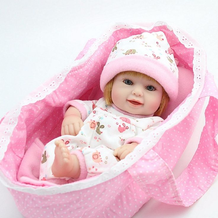 "Doll Reborn Baby Full Vinyl Realistic Handmade Pink 10"" New - Baby Dolls"