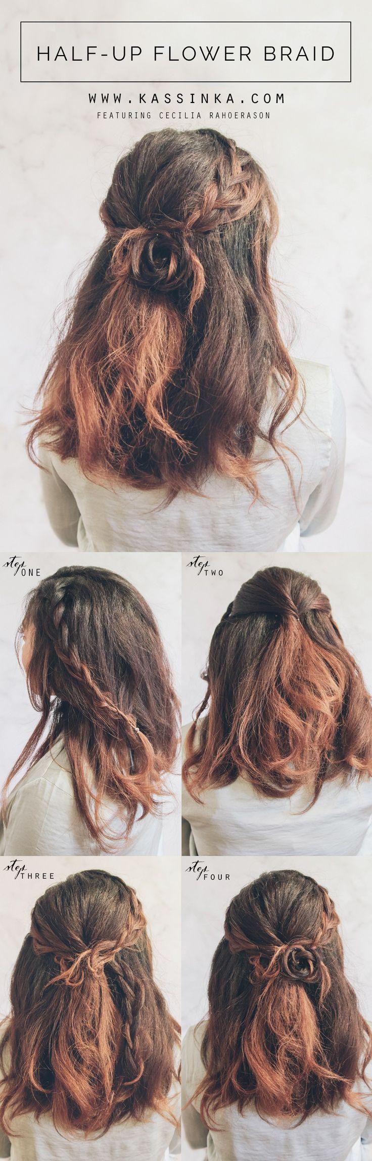 Half up Flower Braid Hair Tutorial