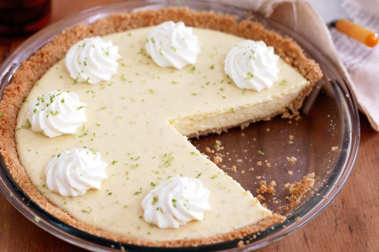 The deliciously pungent key lime pie has an easy-to-make filling made up of only three ingredients.