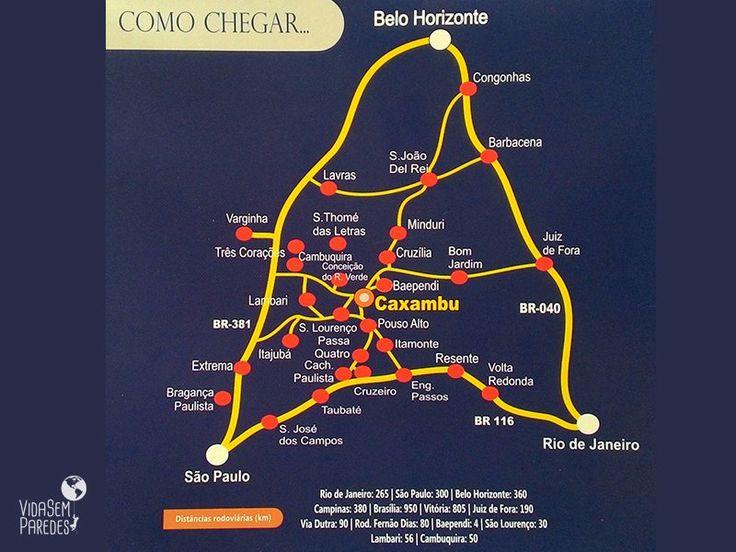 Mapa do entorno de Caxambu, sul de Minas Gerais