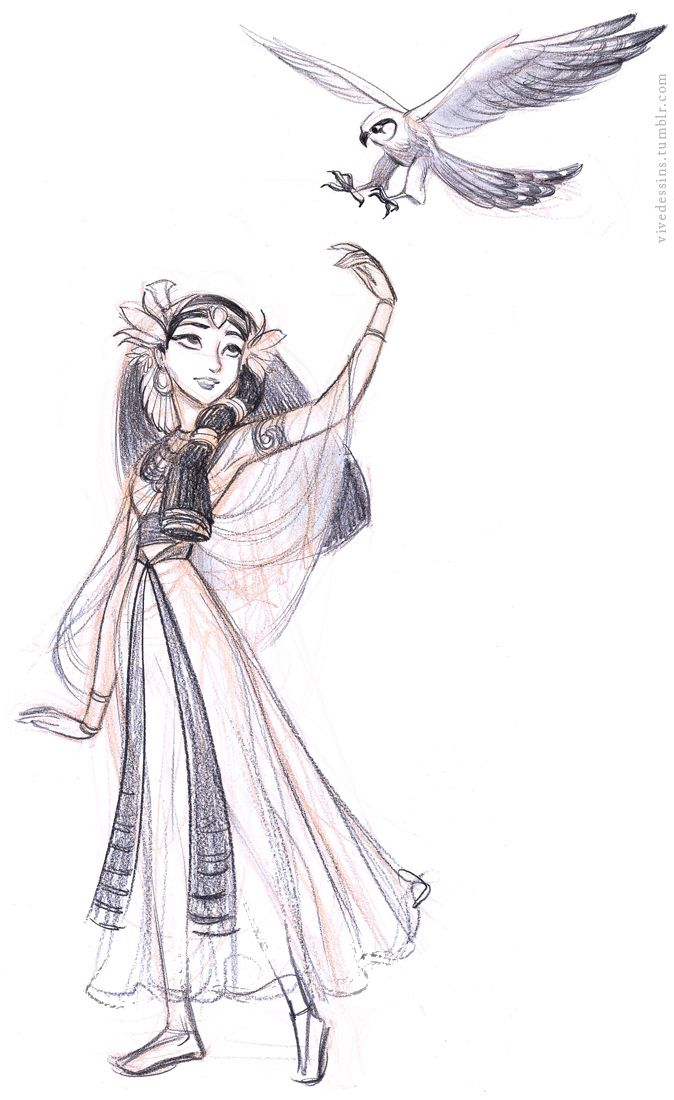 There has never really been an animated Egyptian heroine and designing what she would look like is fun. The story itself is roughly based on Sleeping Beauty, so she is like Aurora in a way.