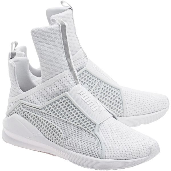 PUMA X RIHANNA Fenty Trainer White // Limited sneakers (2.730.745 IDR) ❤ liked on Polyvore featuring shoes, sneakers, white trainers, strappy shoes, elastic strap shoes, white strap shoes and elastic shoes