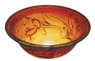 AQ Amber floral sink vessel.
