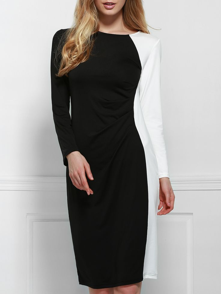 Elegant Scoop Neck Long Sleeve Black and White Spliced Plus Size Women's Dress