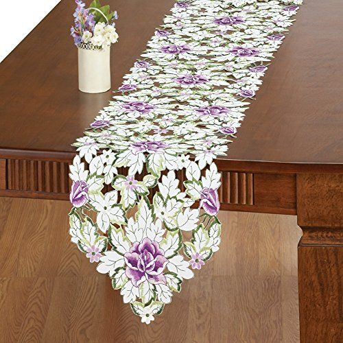 All Over Rose Cut-out Table Linens, Purple, Runner