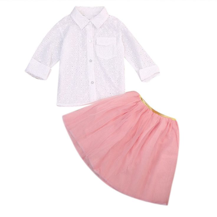Toddler Kid Baby Girl Clothes Set White Long Sleeve Blouse Pocket Top Pink Tutu Skirt Girls Summer Costume Clothing Outfit #Affiliate