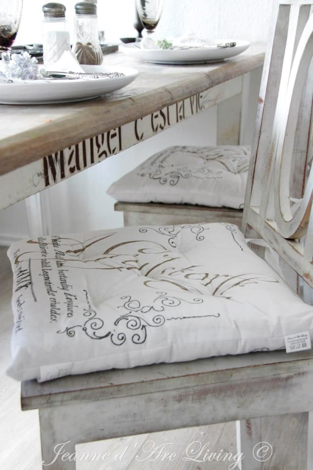 Chair Pillows Dining room. White, Grey, Black, Chippy, Shabby Chic, Whitewashed, Cottage, French Country, Rustic, Swedish decor Idea. ***Pinned by oldattic ***