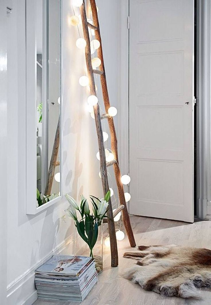 Vintage Ladder With String Lights / Get the Scandinavian decor beauty in a minute!