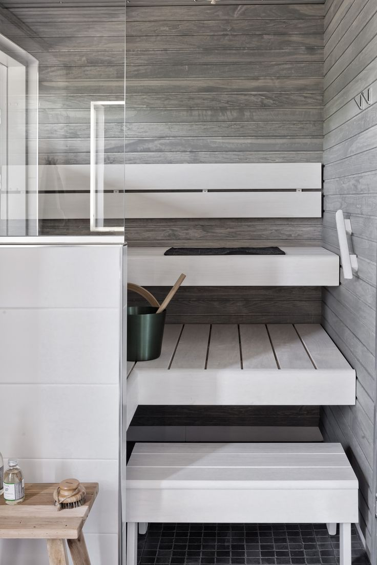 White wooden sauna