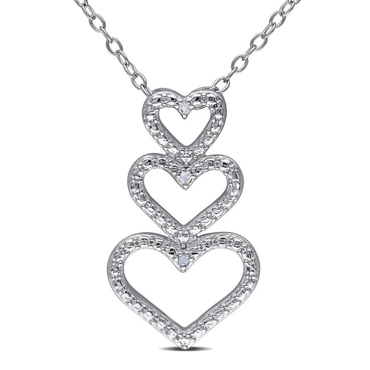 "Amour Sterling Silver Diamond Accent Triple Heart Pendant Necklace 18"" FREE SHIPPING http://ebay.to/2jsvDQI #ebay #deals #fashion #jewelry #ValentinesDay #Women #gift #love"