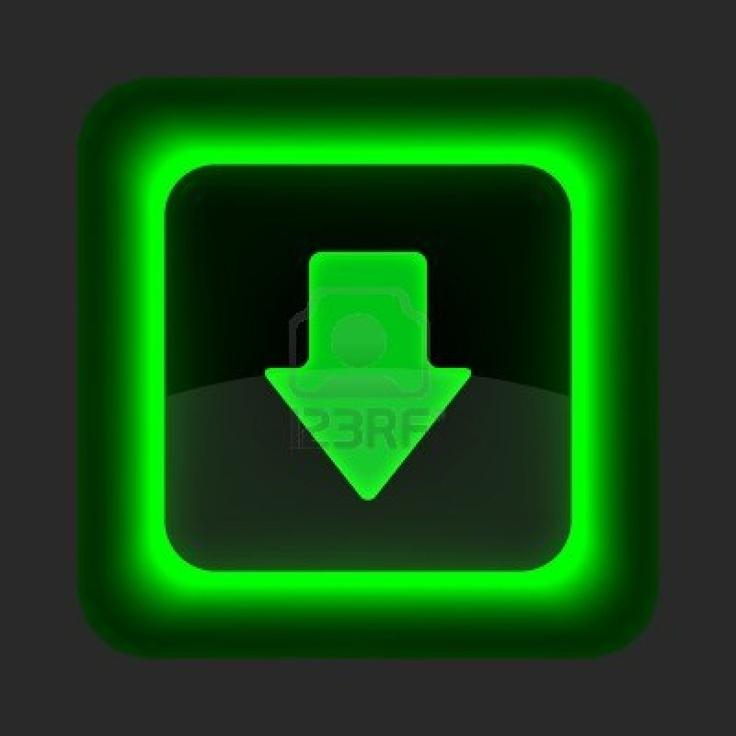 Groene glossy internet knop met pijl downloaden symbool. Afgeronde vierkante vorm pictogram op grijze achtergrond. Stockfoto