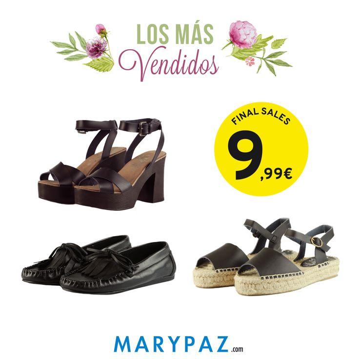 ¡¡Aquí tenéis los más vendidos de la semana!! Vuestros preferidos   ¡¡De PIEL y a tan solo 9,99€!! ¡¡Son irresistibles!!  Compra tu SANDALIA DE TACÓN REBAJADA aquí ► http://www.marypaz.com/rebajas/todo-12-99/sandalia-de-piel-de-tacon-y-plataforma-cruzada-con-pulsera-0210394356-73783.html  Compra tu MOCASÍN DE FLECOS REBAJADO aquí ►http://www.marypaz.com/rebajas/todo-12-99/mocasin-de-piel-con-flecos-0310394559-73739.html  Compra tu AVARCA REBAJADA DE ESPARTO aquí ►http://www.marypaz.com/