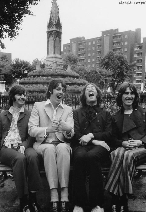 It's so rare that I find a photo with all four Beatles smiling at the same time. This is a hysterical picture.