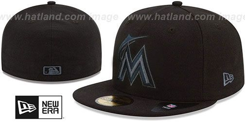 Marlins 'MLB FADEOUT-BASIC' Black Fitted Hat by New Era on hatland.com