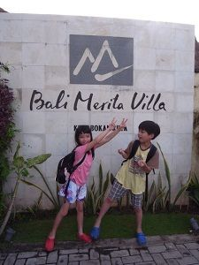kids in front on bali merita villa