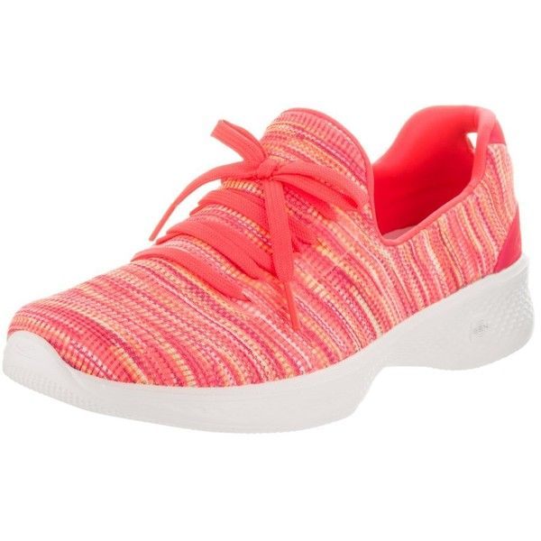 Skechers Go Walk 4-Today Women Round Toe Canvas Pink Walking Shoe ($26) ❤ liked on Polyvore featuring shoes, wide shoes, wide fit shoes, skechers footwear, wide width shoes and pink walking shoes