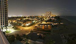 Pompano Beach's nighttime skyline viewed from Briny Avenue