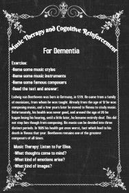 Music Therapy and Cognitive Reinforcement in Dementia   http://therapeuticart.blogspot.gr/2017/05/blog-post_17.html