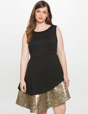 Sequin Bonded Pique Dress
