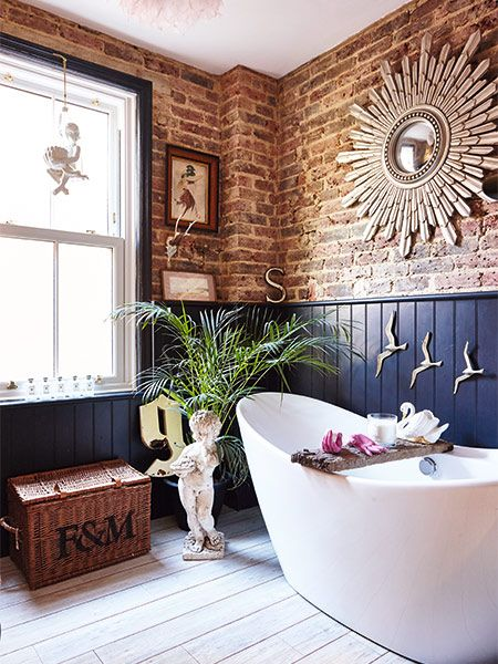 Vc Likes The Exposed Brick Wall Bathroom With Blue Dado And Flying Seagulls