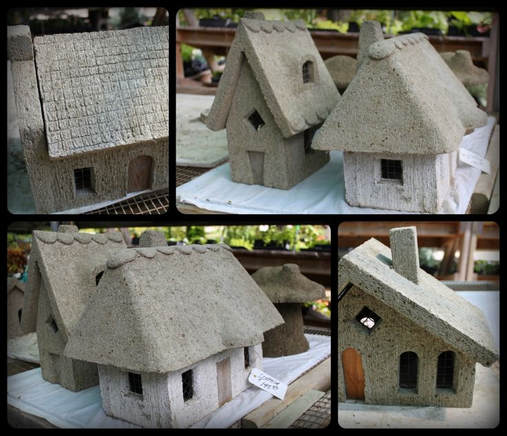 DIY...Hypertufa fairy houses tutorial..: Hypertufa Fairies, Fairy Houses, Cottages Collage, Fairies Gardens, Fairies Cottages, Fairies House, Tiny Cottages, Red Cedar, Diy Hypertufa